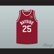 Saved By The Bell Zack Morris 25 Bayside Tigers Away Basketball Jersey Includes Tiger Patch