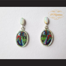 P Middleton Oval Micro Inlay Design Earrings Sterling Silver .925
