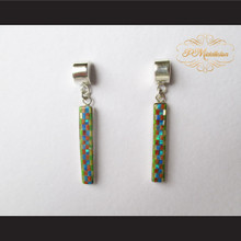 P Middleton Tall Rectangle Checkered Inlay Design Earrings Sterling Silver .925