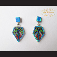 P Middleton Irregular Pentagon Inlay Design Earrings Sterling Silver .925