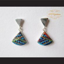 P Middleton Curved Triangle Design Multi-Stone Inlay Earrings Sterling Silver .925