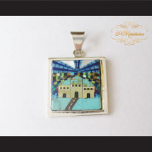 P Middleton Square Home Pendant Sterling Silver .925 Micro Stone Inlays