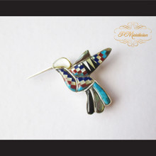 P Middleton Hummingbird Brooch Sterling Silver .925 with Micro Inlay Stones