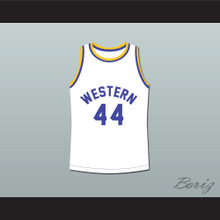 Anthony C Hall Tony the Point Shaver 44 Western University Dolphins White Basketball Jersey Blue Chips