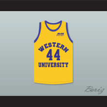Anthony C Hall Tony the Point Shaver 44 Western University Yellow Basketball Jersey with Blue Chips Patch
