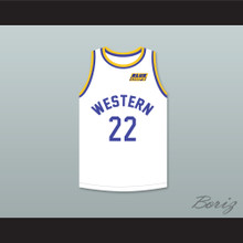 Anfernee Hardaway Butch McRae 22 Western University White Basketball Jersey with Blue Chips Patch