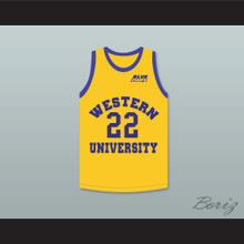 Anfernee Hardaway Butch McRae 22 Western University Yellow Basketball Jersey with Blue Chips Patch