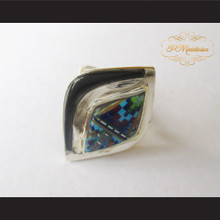 P Middleton Micro Stone Inlay Sterling Silver .925 Ring