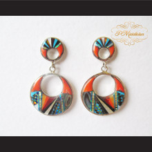 P Middleton Double Crescent Circle Style Inlay Stones Earrings Sterling Silver .925