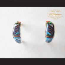 P Middleton Mini Hoop Design Multi-Stone Inlay Earrings Sterling Silver .925