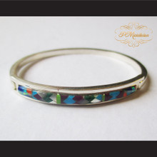 P Middleton Micro Inlay Stones Sterling Silver .925 Snap Fit Bangle