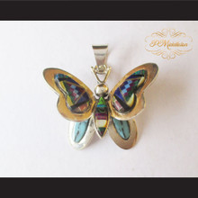P Middleton Butterfly Design Pendant Sterling Silver .925 Micro Stone Inlays