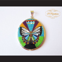 P Middleton Butterfly Oval Pendant Sterling Silver .925 with Micro Inlay Stones