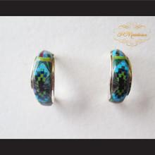 P Middleton Mini Hoop Design Multi-Stone Inlays Earrings Sterling Silver .925