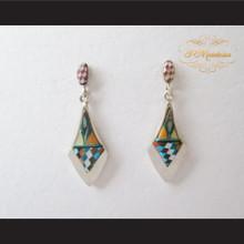 P Middleton Diamond Design Multi-Stone Inlays Earrings Sterling Silver .925
