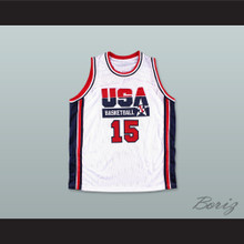 1992 Magic Johnson 15 USA Team Home Basketball Jersey