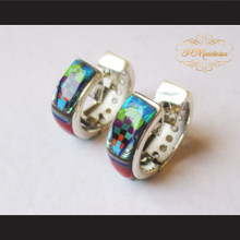 P Middleton Multi-Stone Inlays Huggie Hoop Design Earrings Sterling Silver .925