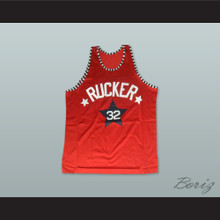 1975 Rucker Park NYC 32 Red Basketball Jersey