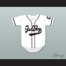 Biggie Smalls 10 Bad Boy White Baseball Jersey with 20 Years Patch