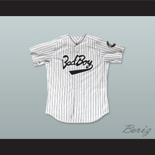 Biggie Smalls 10 Bad Boy Pinstriped Baseball Jersey with 20 Years Patch