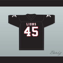 Caleb Grant 45 EMCC Lions Black Football Jersey Includes Patches