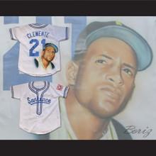 Roberto Clemente 21 Cangrejeros de Santurce Airbrush Portrait Baseball Jersey