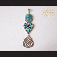 P Middleton Hand Carved Chief Pendant Sterling Silver .925 Micro Stone Inlays