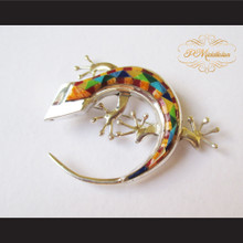 P Middleton Gecko Brooch Pin Sterling Silver .925 with Micro Inlay Stones