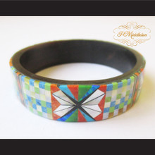 P Middleton Camagong Wood Bangle Elaborate Beautiful Geometric Micro Inlay Design