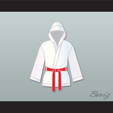 Rocky Balboa White Satin Half Boxing Robe with Hood