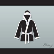 Clubber Lang World Heavyweight Champ Black Satin Half Boxing Robe with Hood