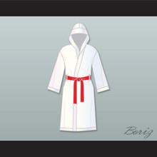 Rocky Balboa White Satin Full Boxing Robe with Hood
