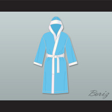 Clubber Lang South Side Slugger Light Blue Satin Full Boxing Robe with Hood