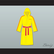Ivan Drago Russia Yellow Satin Full Boxing Robe with Hood