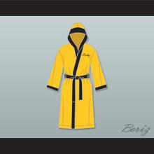 Rocky Balboa Italian Stallion Yellow Satin Full Boxing Robe with Hood
