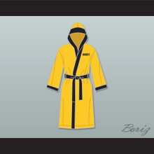 Rocky Italian Stallion Yellow Satin Full Boxing Robe with Hood