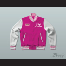 Frenchy Pink Ladies Letterman Jacket-Style Sweatshirt