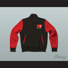 Robert Pattinson Music Television Red & Black Letterman Jacket-Style Sweatshirt