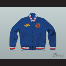 Michael Jordan Space Jam Tune Squad Blue Letterman Jacket-Style Sweatshirt