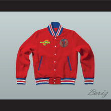 Michael Jordan Space Jam Tune Squad Red Letterman Jacket-Style Sweatshirt