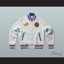 Michael Jordan Space Jam Tune Squad White Letterman Jacket-Style Sweatshirt