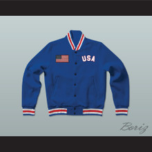 USA United States of America Blue Letterman Jacket-Style Sweatshirt
