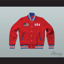 USA United States of America Red Letterman Jacket-Style Sweatshirt