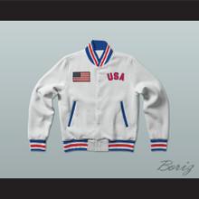 USA United States of America White Letterman Jacket-Style Sweatshirt