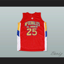 Derrick Rose 25 McDonald's All American Red Basketball Jersey