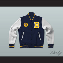 Bel-Air Academy Blue Varsity Letterman Jacket-Style Sweatshirt with Patch