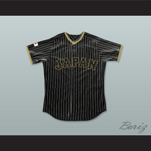 Shohei Ohtani 16 Japan Samurai Black Pinstriped Baseball Jersey 2