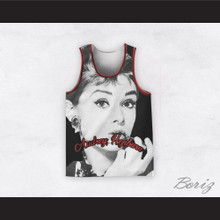 Audrey Hepburn 04 Smoking Cigarette Black and White Basketball Jersey