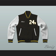 Hooligans 24 K Black White & Gold Varsity Letterman Jacket-Style Sweatshirt