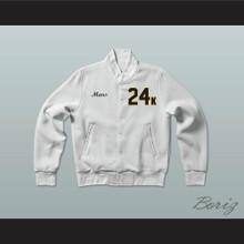 Hooligans 24 K Solid White Varsity Letterman Jacket-Style Sweatshirt